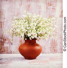 blomningen, liljekonvalj, på, den, gammal, boards., årgång, retro, höfter