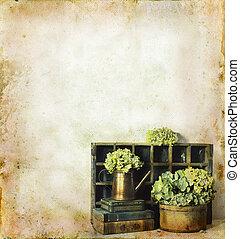 blomningen, och, böcker, på, a, grunge, bakgrund
