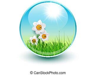 blomningen, och, gräs, insida, kristall, glob