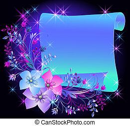 blomningen, och, pergament