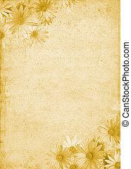 blomningen, på, gammal, papper