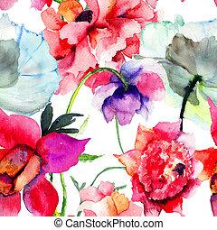 blomningen, pion, vacker
