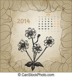 blomningen, serie, bläck, 2014., hand, calendar., penna, artistisk, årgång, oavgjord, kalender, en, botanisk, juli, kort