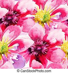 blomningen, tapet, seamless, rosa