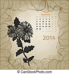 blomningen, tredje, variant., september, årgång, bläck, en, botanisk, calendar., penna, artistisk, serie, oavgjord, kalender, hand, 2014., kort