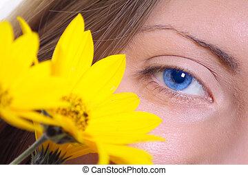 blomst, øje, antal, gul, to, kvindelig