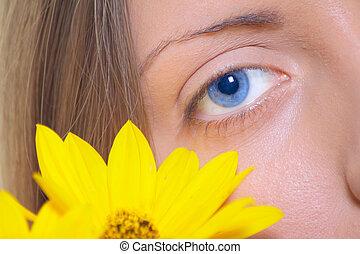 blomst, øje, kvindelig, gul