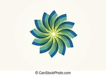 blomst, abstrakt, vektor, grønne, logo, konstruktion, image