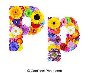 blomst, alfabet, isoleret, på hvide, -, brev p