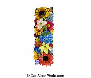 blomst, alfabet, -, jeg