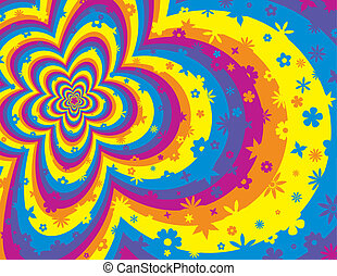 blomst, farverig, stribe, baggrund