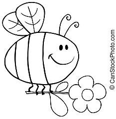 blomst, flyve, skitseret, bi