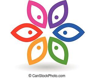 blomst, folk, logo