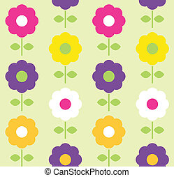 blomst, forår, seamless, vektor, konstruktion, mønster