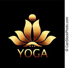 blomst, guld, lotus, vektor, konstruktion, logo, ikon