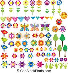 blomst, hjerte, og, dyr, samling