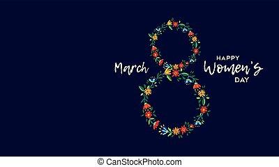 blomst, illustration, womens, dag, card, fest