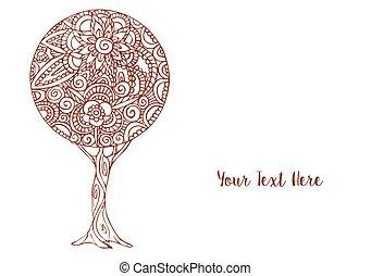blomst, kunst, træ, illustration, dekoration, mandala