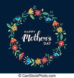 blomst, mødre, krans, illustration, dag, glade