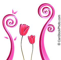 blomst, og, vinranker
