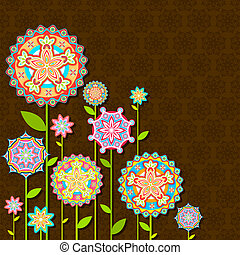blomst, retro, farverig