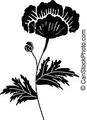 blomst, sort