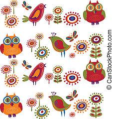blomster, 2, -, fugle