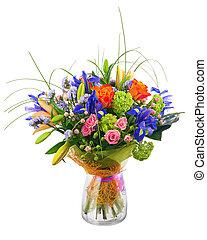 blomster bukett, från, ro, iris, och, statice, flowers.