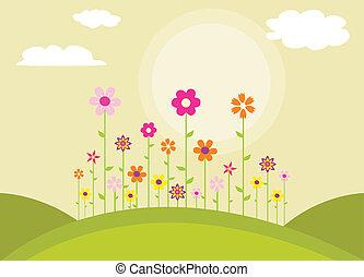 blomster, farverig, forår