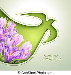 blomster, forår, invitation, skabelon