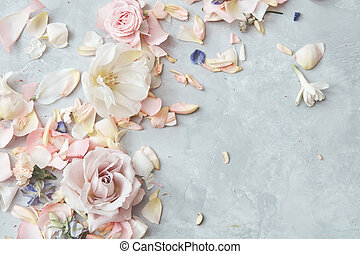 blomster, gråne, baggrund, komposition