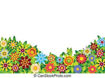 blomster, have, vektor