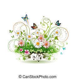 blomster, ind, den, græs