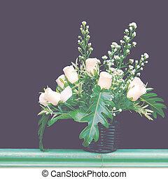 blomster korg, gammal, årgång, retro designa