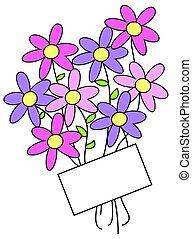 blomster, og, etiketten