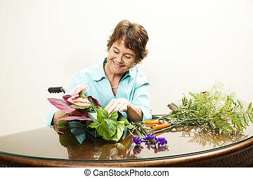 blomsterhandlare, handikappad, copyspace