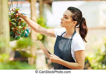 blomsterhandlare, kontroll, blomningen, betingelse
