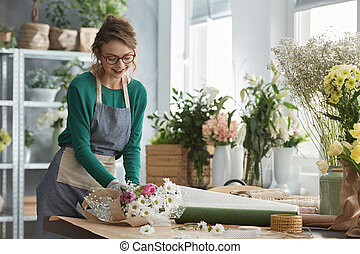 blomsterhandlare, le, arbete