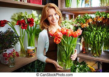 blomsterhandlare, lycklig