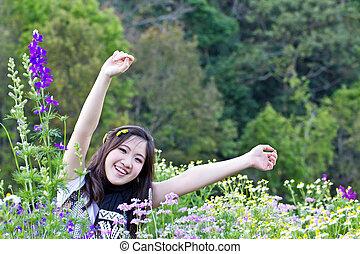 Blomstrar, kvinna, Asiat, avkopplande