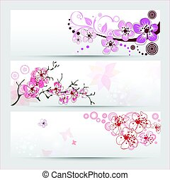 blomstre, kirsebær, bannere, sæt