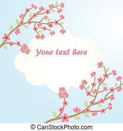 blomstre, sakura, card