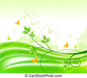 blomstrede, abstrakt, baggrunde, vektor