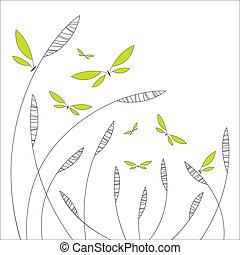 blomstrede, abstrakt formgiv, sommerfugle