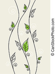 blomstrede, blade, grøn baggrund