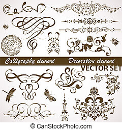 blomstrede, calligraphic, element