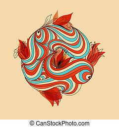 blomstrede, cirkel, vektor, illustration
