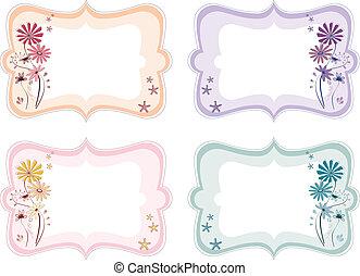 blomstrede, farver, forskellige, etiketter