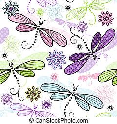 blomstrede, forår, dragonflies, seamless, mønster
