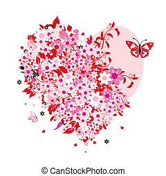 blomstrede, hjerte form